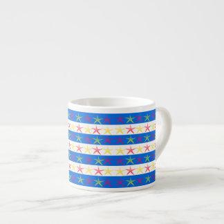 Summer Beach Theme Starfish Blue Striped Pattern Espresso Cup