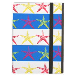Summer Beach Theme Starfish Blue Striped Pattern iPad Cases