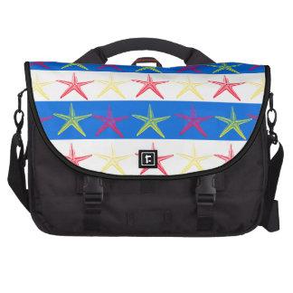 Summer Beach Theme Starfish Blue Striped Pattern Laptop Bags