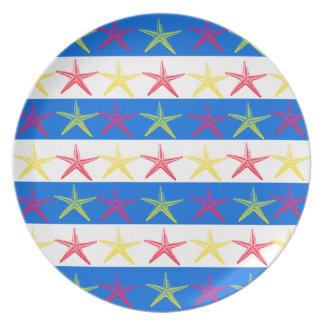 Summer Beach Theme Starfish Blue Striped Pattern Dinner Plates