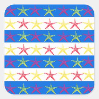Summer Beach Theme Starfish Blue Striped Pattern Square Sticker