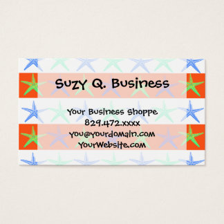 Summer Beach Theme Starfish on Orange Stripes Business Card