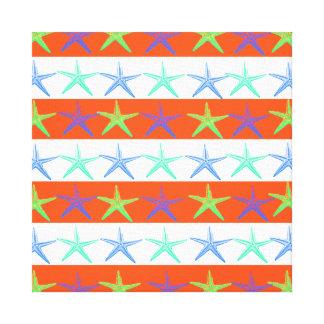 Summer Beach Theme Starfish on Orange Stripes Canvas Prints