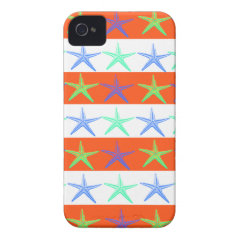 Summer Beach Theme Starfish on Orange Stripes iPhone 4 Cases