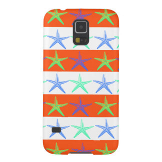 Summer Beach Theme Starfish on Orange Stripes Galaxy S5 Cover