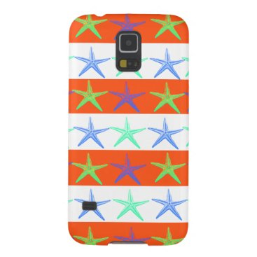 Beach Themed Summer Beach Theme Starfish on Orange Stripes Galaxy S5 Cover