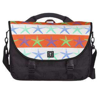 Summer Beach Theme Starfish on Orange Stripes Commuter Bag