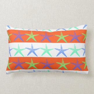 Summer Beach Theme Starfish on Orange Stripes Pillow