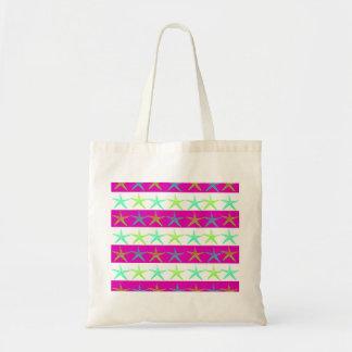 Summer Beach Theme Starfish on Purple Stripes Tote Bags