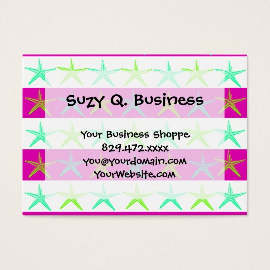 Summer Beach Theme Starfish on Purple Stripes Business Card