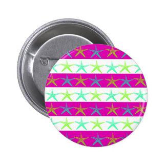 Summer Beach Theme Starfish on Purple Stripes Buttons