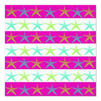 Summer Beach Theme Starfish on Purple Stripes Card