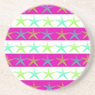 Summer Beach Theme Starfish on Purple Stripes Drink Coaster