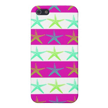 Beach Themed Summer Beach Theme Starfish on Purple Stripes iPhone SE/5/5s Case