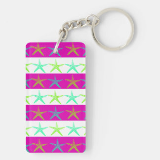 Summer Beach Theme Starfish on Purple Stripes Rectangular Acrylic Key Chains