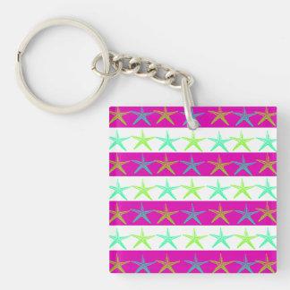 Summer Beach Theme Starfish on Purple Stripes Square Acrylic Keychain