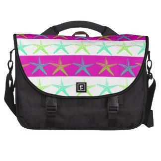 Summer Beach Theme Starfish on Purple Stripes Bag For Laptop