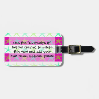Summer Beach Theme Starfish on Purple Stripes Tags For Luggage