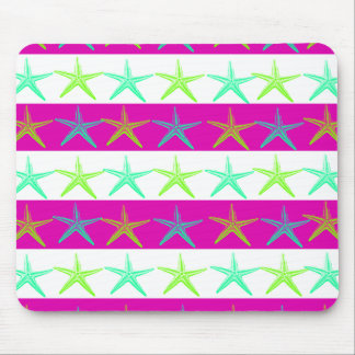 Summer Beach Theme Starfish on Purple Stripes Mouse Pad