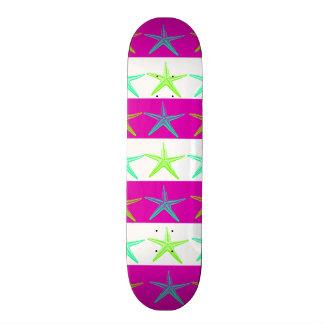 Summer Beach Theme Starfish on Purple Stripes Skate Boards