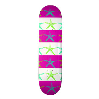 Summer Beach Theme Starfish on Purple Stripes Skateboard Deck