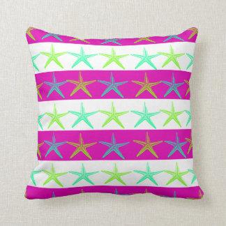 Summer Beach Theme Starfish on Purple Stripes Throw Pillow