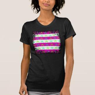 Summer Beach Theme Starfish on Purple Stripes Tshirts