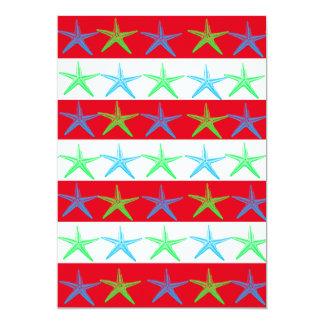 Summer Beach Theme Starfish on Red Striped Pattern Card