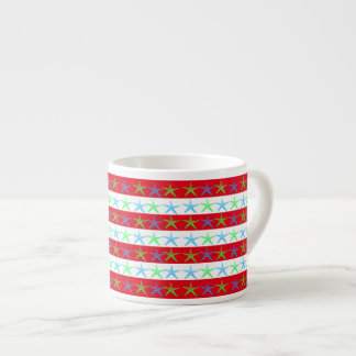 Summer Beach Theme Starfish on Red Striped Pattern Espresso Cup