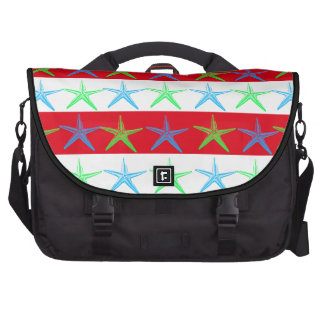 Summer Beach Theme Starfish on Red Striped Pattern Bag For Laptop