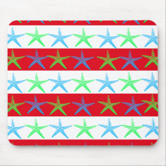 Summer Beach Theme Starfish on Red Striped Pattern Mouse Pad