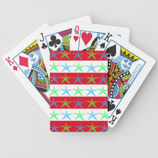 Summer Beach Theme Starfish on Red Striped Pattern Bicycle Poker Deck