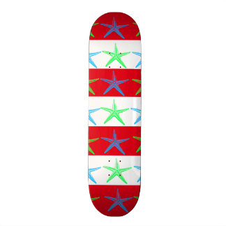 Summer Beach Theme Starfish on Red Striped Pattern Skateboard