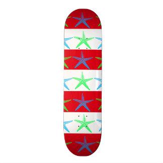 Summer Beach Theme Starfish on Red Striped Pattern Skateboard
