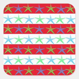 Summer Beach Theme Starfish on Red Striped Pattern Sticker
