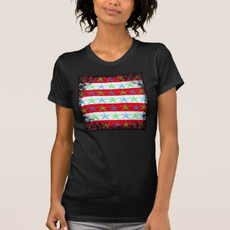 Summer Beach Theme Starfish on Red Striped Pattern T-Shirt