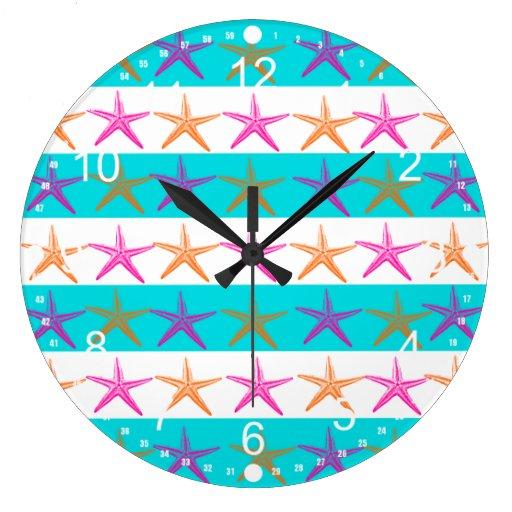 Summer Beach Theme Starfish on Teal Stripes Wall Clocks