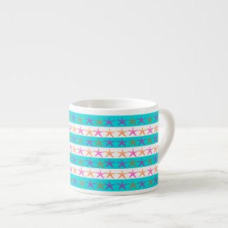 Summer Beach Theme Starfish on Teal Stripes Espresso Cup