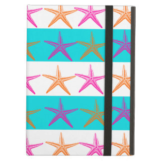 Summer Beach Theme Starfish on Teal Stripes iPad Air Case