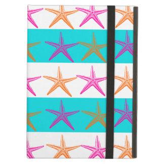 Summer Beach Theme Starfish on Teal Stripes iPad Air Case