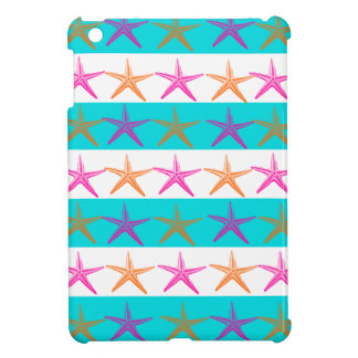 Summer Beach Theme Starfish on Teal Stripes iPad Mini Case