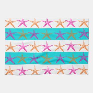 Summer Beach Theme Starfish on Teal Stripes Kitchen Towel