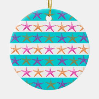 Summer Beach Theme Starfish on Teal Stripes Ornaments