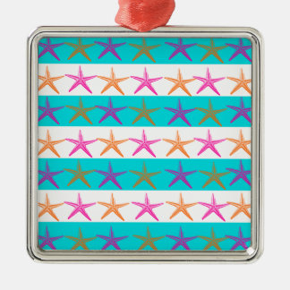 Summer Beach Theme Starfish on Teal Stripes Christmas Tree Ornament