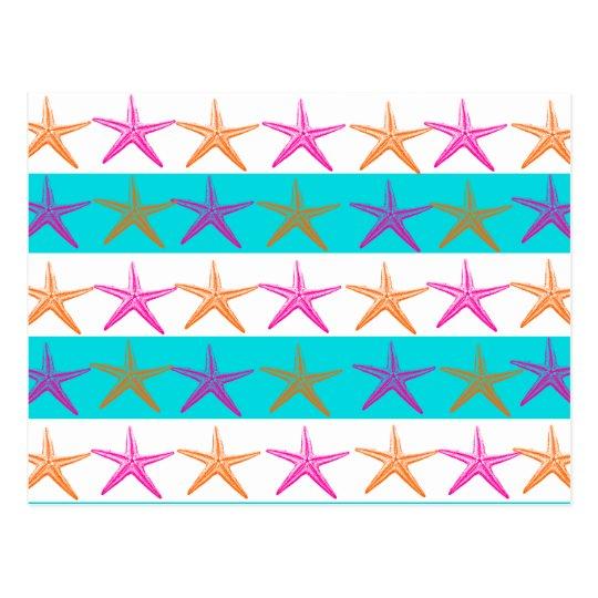 Summer Beach Theme Starfish on Teal Stripes Postcard