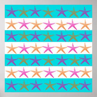 Summer Beach Theme Starfish on Teal Stripes Poster