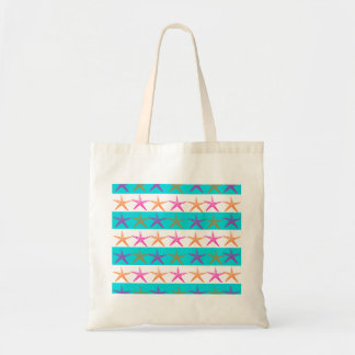 Summer Beach Theme Starfish on Teal Stripes Tote Bag