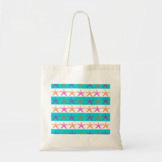 Summer Beach Theme Starfish on Teal Stripes Tote Bag