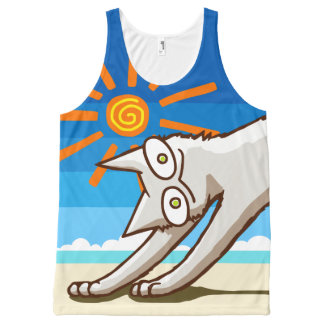 Summer Beach Tropical Cat All-Over Print Tank Top