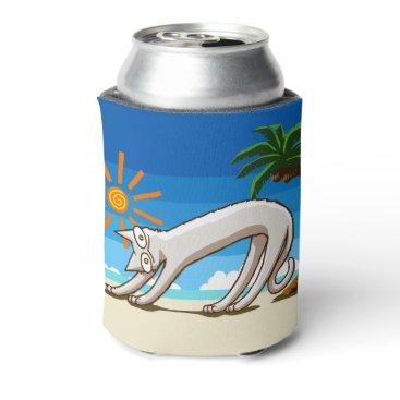 Beach Themed Summer Beach Tropical Cat Can Cooler